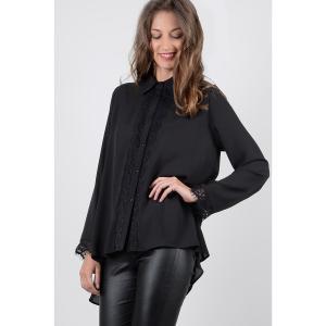 Блузка однотонная с воротником-поло и длинными рукавами MOLLY BRACKEN. Цвет: черный