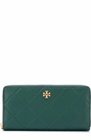 Кожаный кошелек на молнии с логотипом бренда Tory Burch. Цвет: зеленый