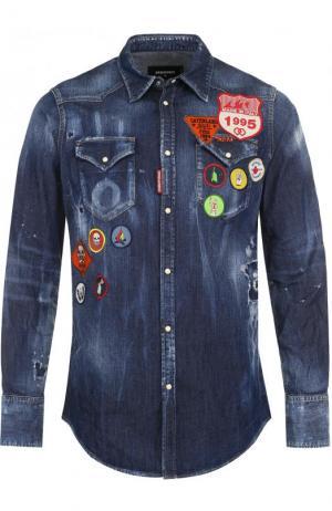 Джинсовая рубашка с нашивками и потертостями Dsquared2. Цвет: темно-синий
