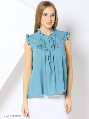 Блузка YUVITA. Цвет: бирюзовый