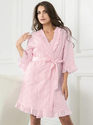 Халат MIA-MELLA. Цвет: бледно-розовый,розовый