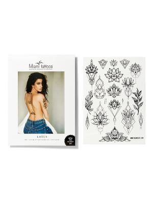 Переводные тату Lotus by SashaTattooing Studio  1 лист 29,7см*21см Miami Tattoos. Цвет: черный