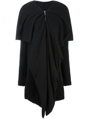 Драпированное пальто с V-образным вырезом Rick Owens Lilies. Цвет: чёрный