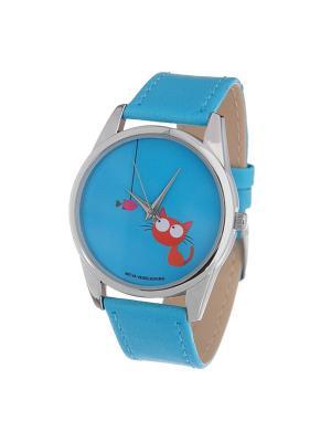 Часы Mitya Veselkov Кошка и рыбка (голубой) Арт. Color-60. Цвет: голубой