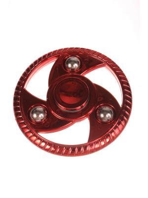 Спиннер металлик улучшенный круглый с шариками-утяжелителями, красный Радужки. Цвет: красный