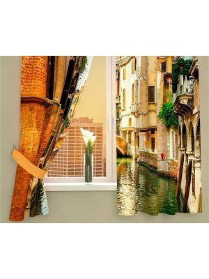 Фотошторы Солнечный день в Венеции Сирень. Цвет: коричневый, голубой, красный, оранжевый, зеленый