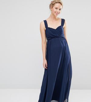 ASOS Maternity Шифоновое платье макси для беременных WEDDING. Цвет: синий