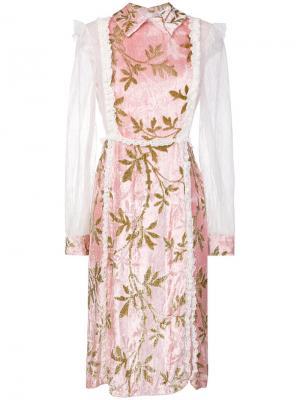 Платье с кружевной отделкой Au Jour Le. Цвет: розовый и фиолетовый