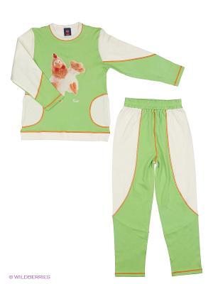 Пижама детская с петушком рост до 148см La Pastel. Цвет: белый, салатовый