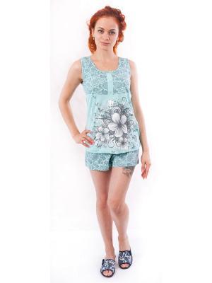 Пижама (футболка,шорты) Валерия 37. Цвет: бирюзовый, серый