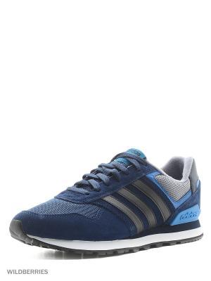 Кроссовки 10K Adidas. Цвет: темно-синий, синий, черный