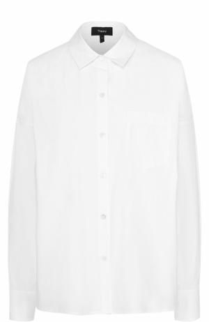 Хлопковая блуза свободного кроя с накладным карманом Theory. Цвет: белый