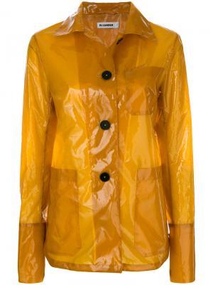 Прозрачный плащ рубашечного типа Jil Sander. Цвет: жёлтый и оранжевый