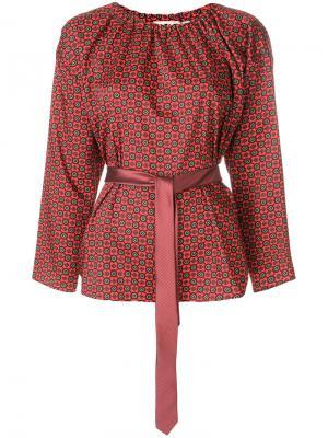 Блузка с узором и поясом Hache. Цвет: красный