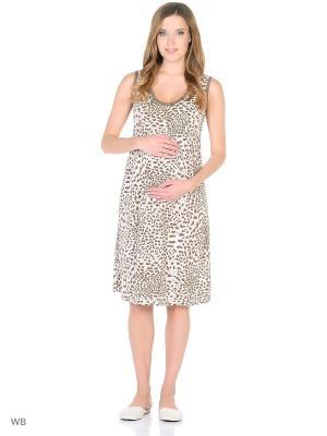 Ночная сорочка для беременных и кормления 40 недель. Цвет: коричневый, бежевый, белый