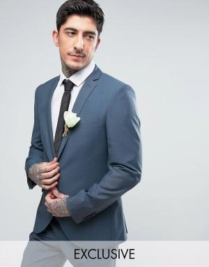 Heart & Dagger Облегающий свадебный пиджак. Цвет: синий