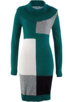 Вязаное платье с длинным рукавом (зеленый узором) bonprix. Цвет: зеленый с узором
