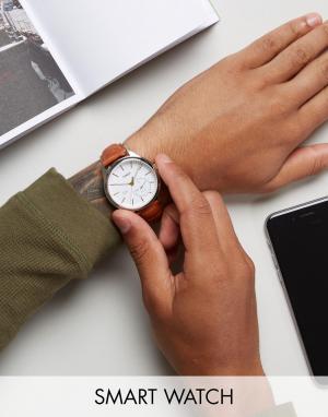 Timex Смарт-часы со светло-коричневым кожаным ремешком IQ Hybrid. Цвет: рыжий