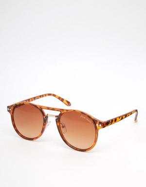 Black Phoenix Круглые солнцезащитные очки в черепаховой оправе. Цвет: коричневый