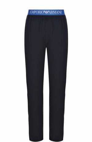 Хлопковые домашние брюки свободного кроя Emporio Armani. Цвет: темно-синий