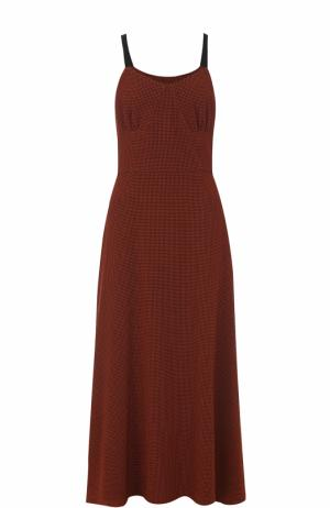 Приталенное платье в клетку без рукавов Isa Arfen. Цвет: коричневый