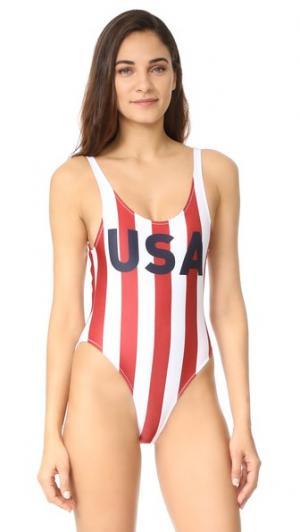 Сплошной купальник с надписью «USA» CHRLDR. Цвет: белый