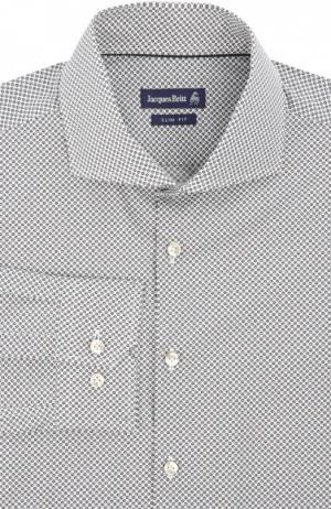 Приталенная сорочка с воротником акула Jacques Britt. Цвет: светло-серый