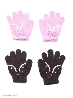 Перчатки, 2 пары FOMAS. Цвет: розовый, черный