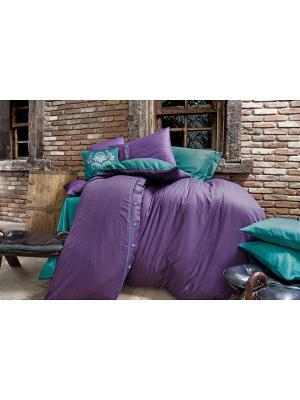 Комплект постельного белья DAWSON Purple/Пурпурный, добби сатин, 200ТС, 100% хлопок, евро ISSIMO Home. Цвет: фиолетовый