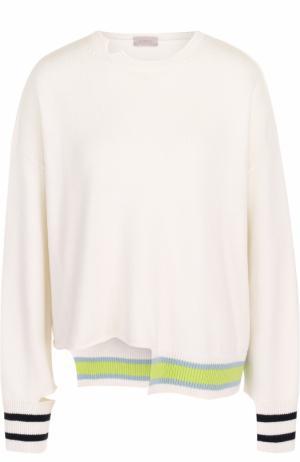 Пуловер асимметричного кроя из смеси шерсти и кашемира MRZ. Цвет: белый