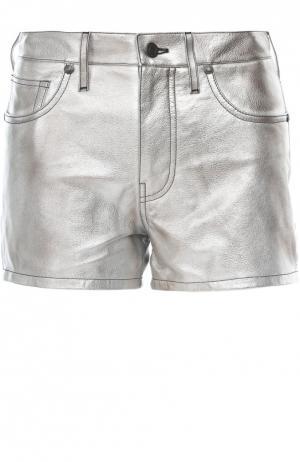 Кожаные шорты Tom Ford. Цвет: серебряный