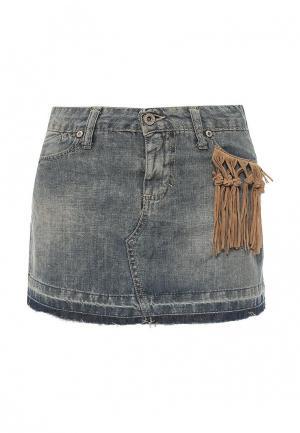 Юбка джинсовая Please. Цвет: синий