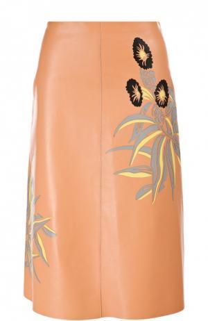 Кожаная юбка Marni. Цвет: розовый