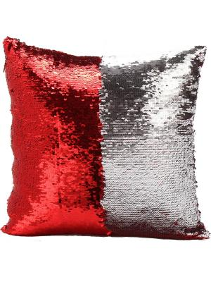 Подушка с пайетками  декоративная GOOD MOOD, коллекция Magic Shine MOOD. Цвет: серебристый, красный