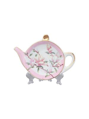 Подставка под чайный пакетик Орхидея на розовом Elan Gallery. Цвет: белый, розовый