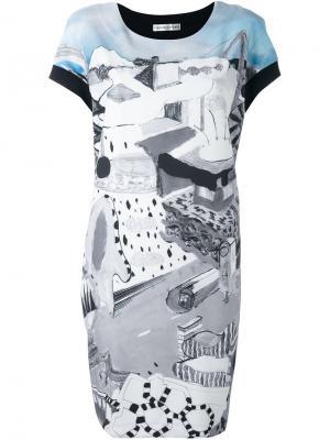 Платье с рисунком и контрастной спинкой Tsumori Chisato. Цвет: чёрный
