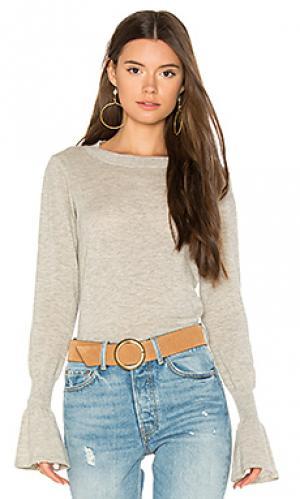 Свитер с круглым вырезом и расклешенными манжетами Autumn Cashmere. Цвет: серый