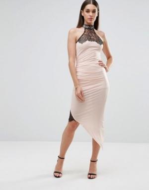 Sistaglam Платье-футляр с асимметричным подолом и кружевными вставками. Цвет: белый