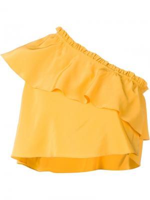 Укороченный асимметричный топ Apiece Apart. Цвет: жёлтый и оранжевый