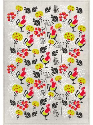 Полотенца Петушок и рябинка, 2 шт., с петелькой GrandStyle. Цвет: черный, красный, желтый