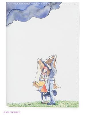 Обложка для паспорта Влюбленные и туча Mitya Veselkov. Цвет: белый