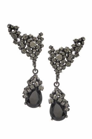Серьги с кристаллами Herald Percy. Цвет: черный