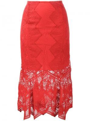 Кружевная юбка миди Jonathan Simkhai. Цвет: красный