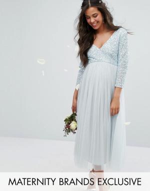 Maya Maternity Платье миди с рукавами 3/4, отделкой пайетками и юбкой из тюля Ma. Цвет: синий