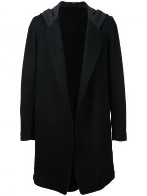 Пальто с капюшоном Bassike. Цвет: чёрный