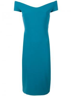 Приталенное платье с открытыми плечами Chiara Boni La Petite Robe. Цвет: синий