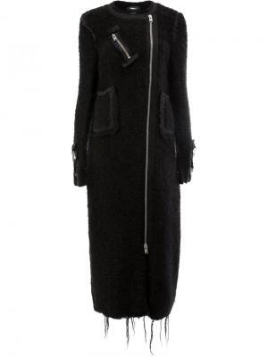 Асимметричное пальто с бахромой Yang Li. Цвет: чёрный