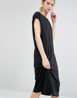 Dr Denim Удлиненное платье-футболка. Цвет: черный