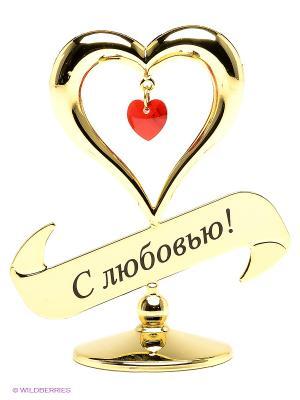 Фигурка Сердечко с надписью Юнион. Цвет: золотистый, красный