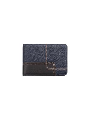 Визитница без хлястика, с карманами, Floter cross синий Domenico Morelli. Цвет: темно-синий, темно-коричневый